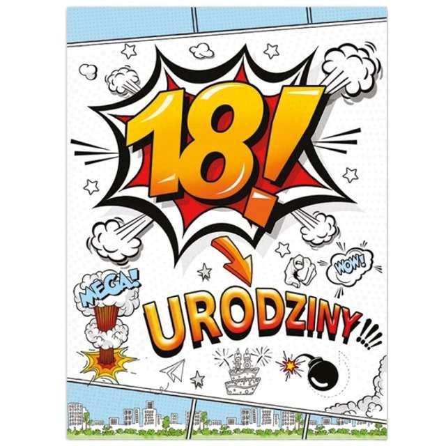 """Etykieta na butelkę """"Urodziny 18 Boom"""", 95x125 mm, 25 szt"""