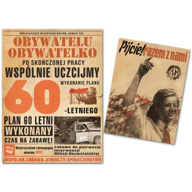 """Etykieta na butelkę """"Urodziny 60-Letni plan PRL"""", 95x125+80x60 mm, 25 szt"""