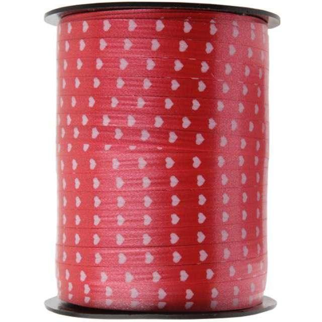 """Wstążka do balonów """"Serduszka Białe"""" czerwona, SANTEX, 7,5 mm/50 m"""