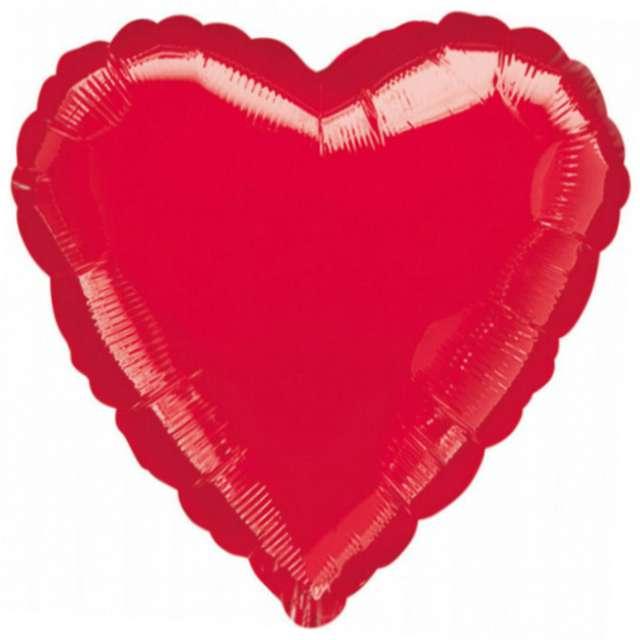 "Balon foliowy ""Serce"", czerwony, AMSCAN, 18"" HRT"