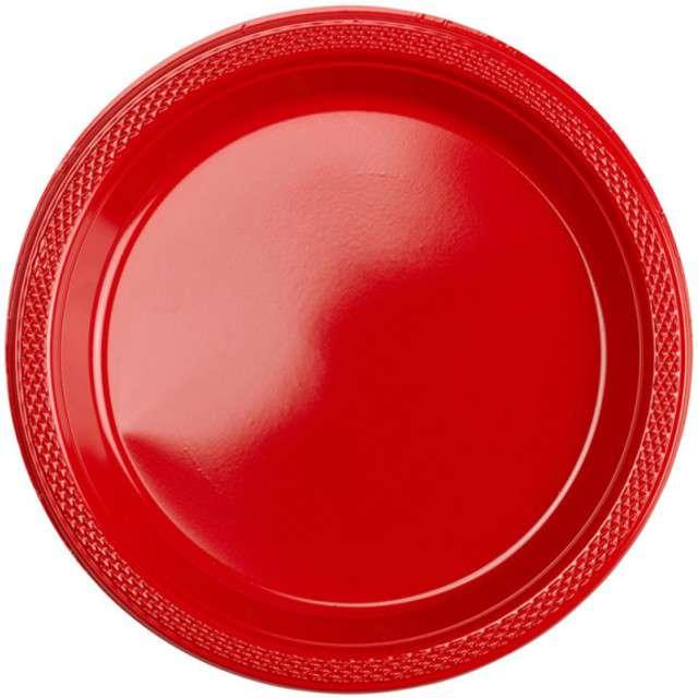 """Talerzyki plastikowe """"Amscan M"""", czerwone, 17,7 cm, 10 szt"""