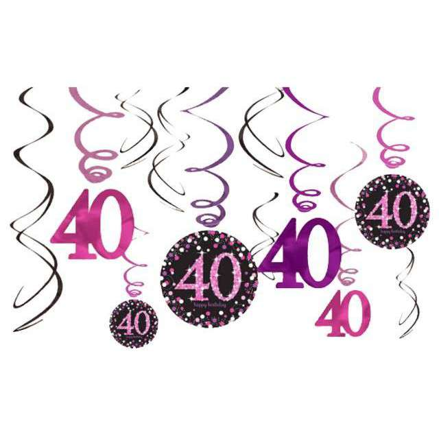 """Świderki wiszące """"Urodziny 40"""", Pink Celebration, AMSCAN, 12 szt"""