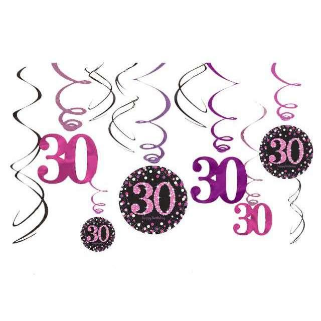 """Świderki wiszące """"Urodziny 30"""", Pink Celebration, AMSCAN, 12 szt"""