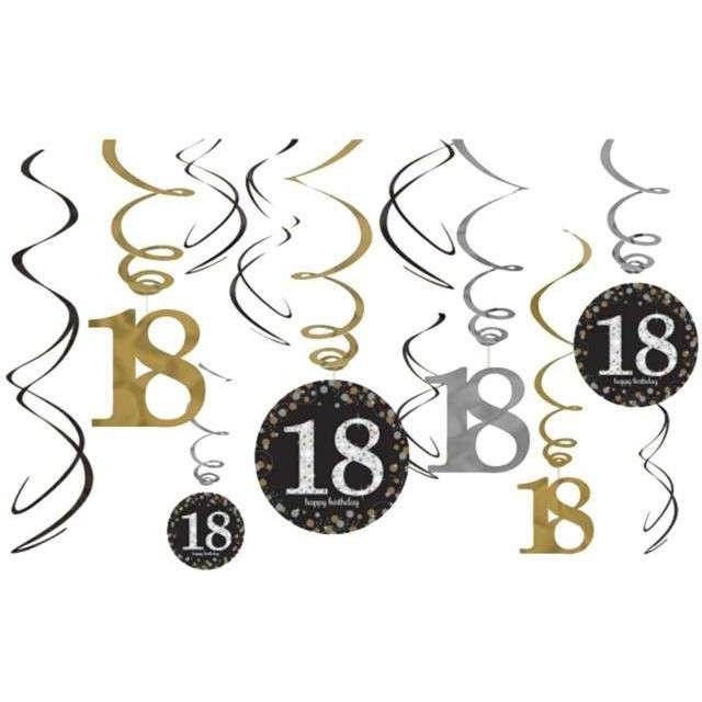 """Świderki wiszące """"Urodziny 18"""", Gold Celebration, AMSCAN, 12 szt"""