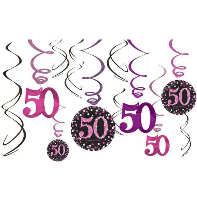 """Świderki wiszące """"Urodziny 50"""", Pink Celebration, AMSCAN, 12 szt"""