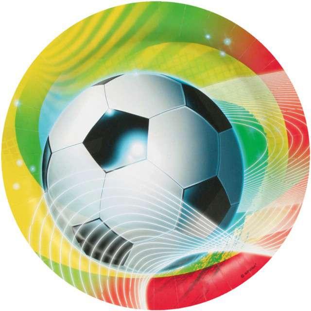 """Talerzyki papierowe """"Piłka Nożna Rainbow"""", AMSCAN, 23 cm, 8 szt"""