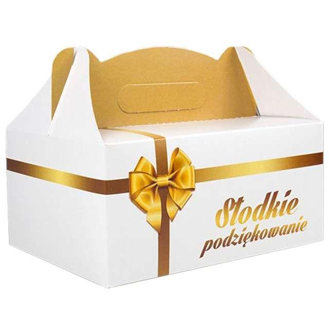 """Pudełko na ciasto """"Słodkie podziękowanie - Złota Kokarda"""", 5 szt"""