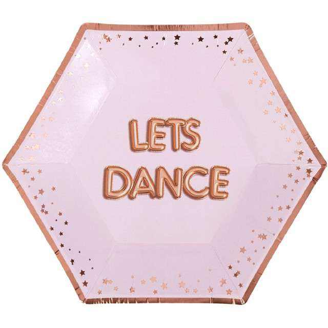 """Talerzyki papierowe """"Lets Dance - Glitz & Glamour"""", różowo-złote, NEVITI, 20 cm, 8 szt"""