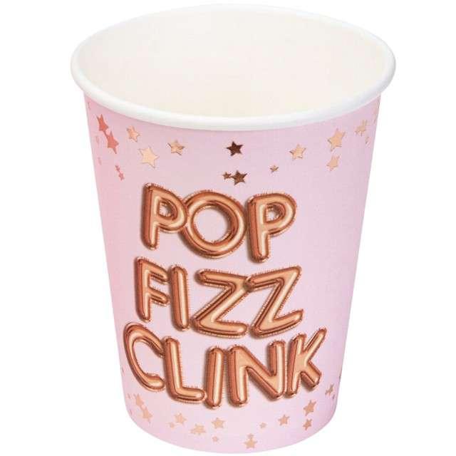 """Kubeczki papierowe """"Pop Fizz Clink - Glitz & Glamour"""", różowo-złote, NEVITI, 270 ml, 8 szt"""