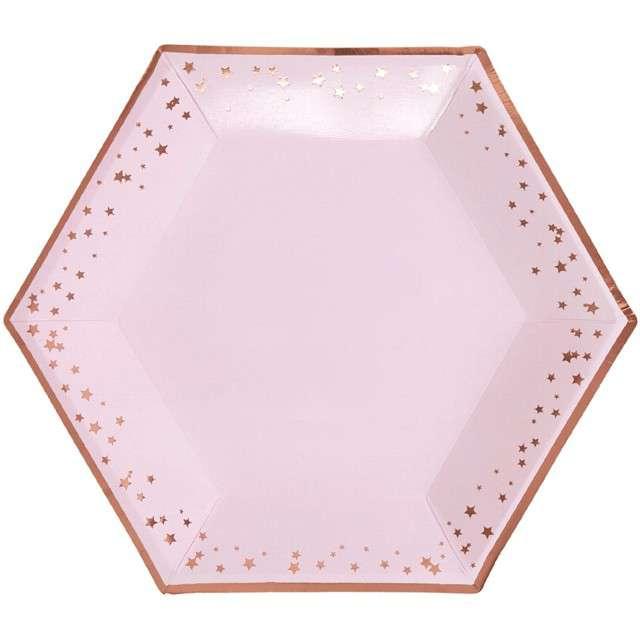 """Talerzyki papierowe """"Classic XL Glitz & Glamour"""", różowo-złote, NEVITI, 27 cm, 8 szt"""