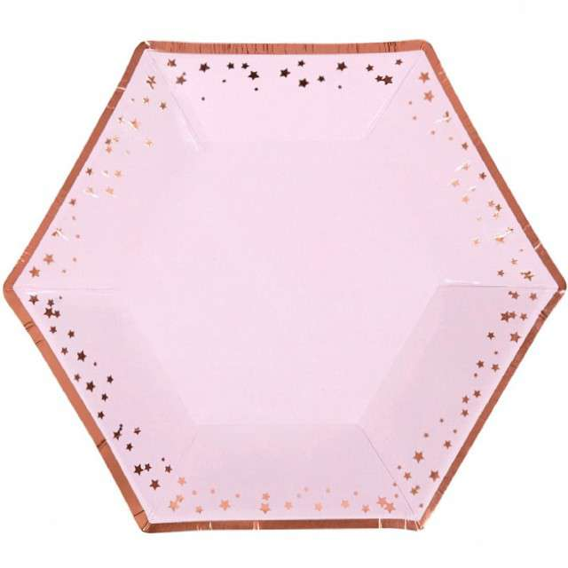 """Talerzyki papierowe """"Classic - Glitz & Glamour"""", różowo-złote, NEVITI, 20 cm, 8 szt"""