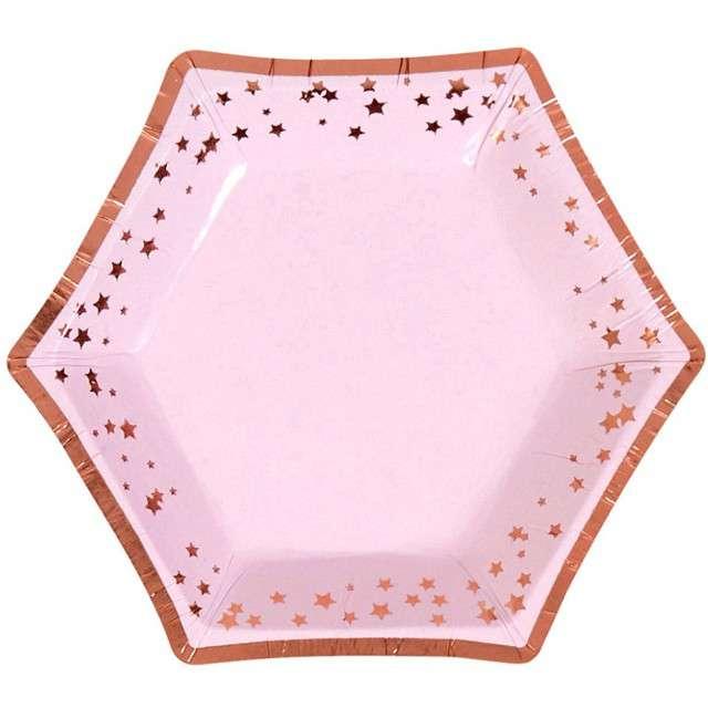 """Talerzyki papierowe """"Classic Mini - Glitz & Glamour"""", różowo-złote, NEVITI, 12,5 cm, 8 szt."""