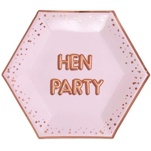 """Talerzyki papierowe """"Hen Party - Wieczór Panieński"""", różowo-złote, NEVITI, 27 cm,"""