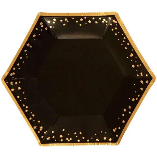 """Talerzyki papierowe """"Classic - Glitz & Glamour"""", czarno-złote, NEVITI, 20 cm, 8 szt"""