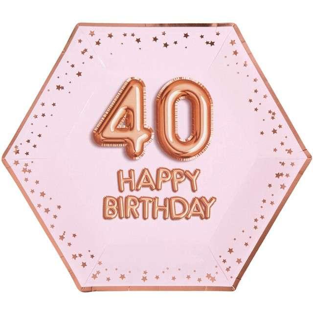 """Talerzyki papierowe """"40 Urodziny - Glitz & Glamour"""", różowo-złote, NEVITI, 27 cm, 8 szt"""
