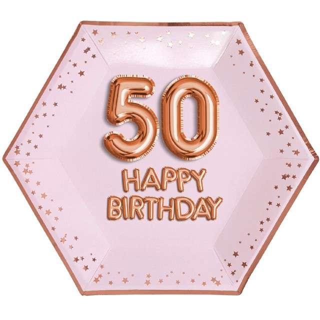 """Talerzyki papierowe """"50 Urodziny - Glitz & Glamour"""", różowo-złote, NEVITI, 27 cm, 8 szt"""