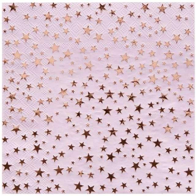 """Serwetki """"Gwiazdki - Glitz & Glamour"""", NEVITI, różowe, 33 cm, 16 szt"""
