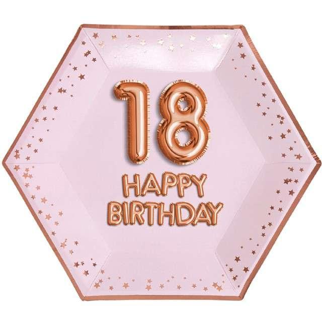 """Talerzyki papierowe """"18 Urodziny - Glitz & Glamour"""", różowo-złote, NEVITI, 27 cm, 8 szt"""