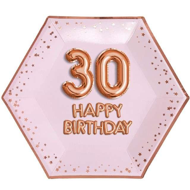 """Talerzyki papierowe """"30 Urodziny - Glitz & Glamour"""", różowo-złote, NEVITI, 27 cm, 8 szt"""