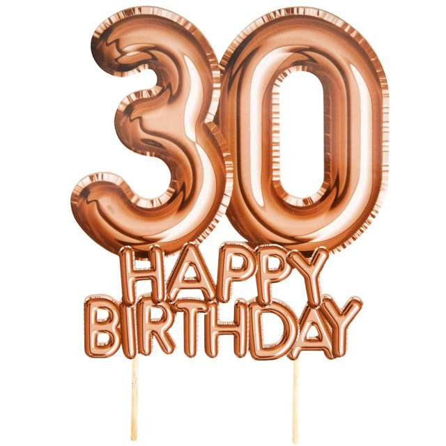 """Dekoracja na tort """"30 Urodziny - Glitz & Glamour"""", szampański, NEVITI, 22 cm"""