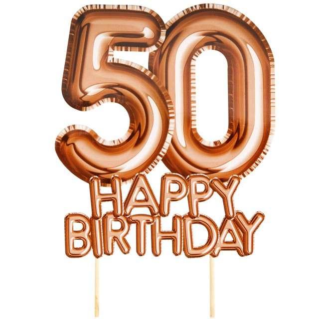 """Dekoracja na tort """"50 Urodziny - Glitz & Glamour"""", szampański, NEVITI, 22 cm"""