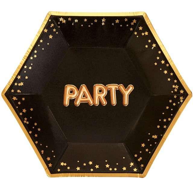 """Talerzyki papierowe """"Party - Glitz & Glamour"""", czarno-złote, NEVITI, 20 cm, 8 szt"""