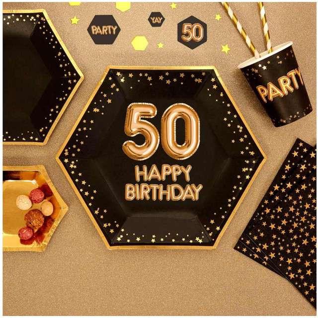 Talerzyki papierowe 50 Urodziny - Glitz & Glamour czarno-złote NEVITI 27 cm 8 szt