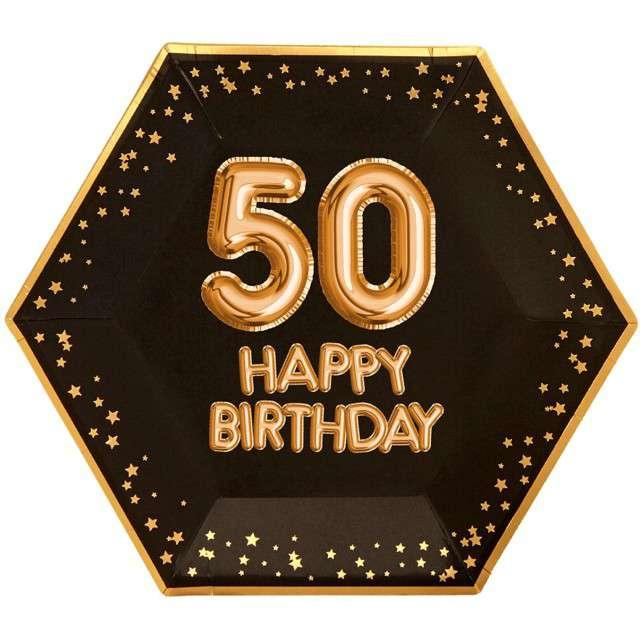 """Talerzyki papierowe """"50 Urodziny - Glitz & Glamour"""", czarno-złote, NEVITI, 27 cm, 8 szt"""