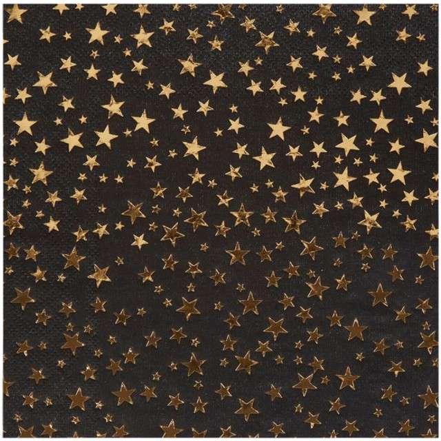 """Serwetki """"Gwiazdki - Glitz & Glamour"""", NEVITI, czarne, 33 cm, 16 szt"""