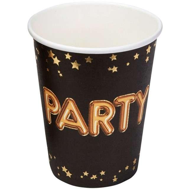 """Kubeczki papierowe """"Party - Glitz & Glamour"""", czarno-złote, NEVITI, 270 ml, 8 szt"""