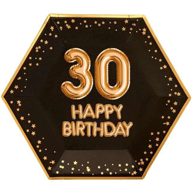 """Talerzyki papierowe """"30 Urodziny - Glitz & Glamour"""", czarno-złote, NEVITI, 27 cm, 8 szt"""