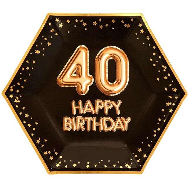 """Talerzyki papierowe """"40 Urodziny - Glitz & Glamour"""", czarno-złote, NEVITI, 27 cm, 8 szt"""