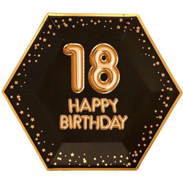 """Talerzyki papierowe """"18 Urodziny - Glitz & Glamour"""", czarno-złote, NEVITI, 27 cm, 8 szt"""