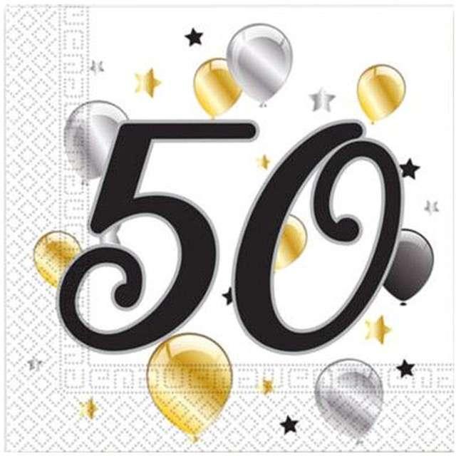 """Serwetki """"50 urodziny Balloons"""", PROCOS, 33 cm, 20 szt"""
