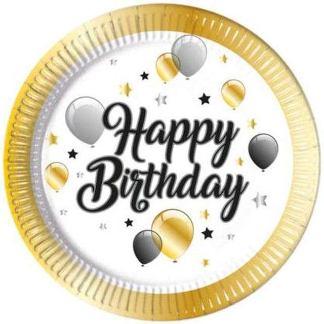 """Talerzyki papierowe """"Balloons - Happy Birthday"""", PROCOS, 23 cm, 8 szt"""