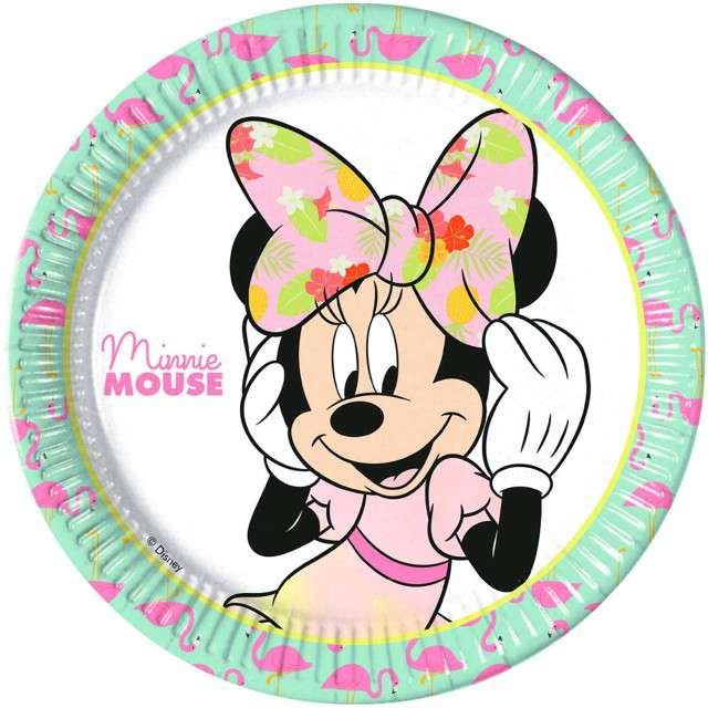"""Talerzyki papierowe """"Minnie Tropical Disney"""", PROCOS, 23 cm, 8 szt"""