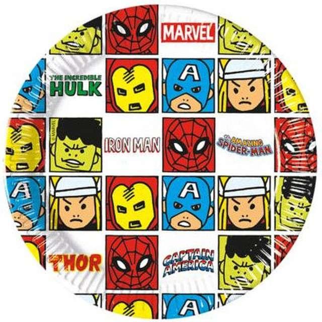 """Talerzyki papierowe """"Avengers Team Power"""", PROCOS, 20 cm, 8 szt"""