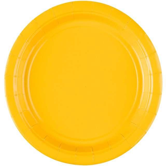 """Talerzyki papierowe """"Premium AMSCAN S - jumbo pack"""", żółte, 18 cm, 20 szt"""