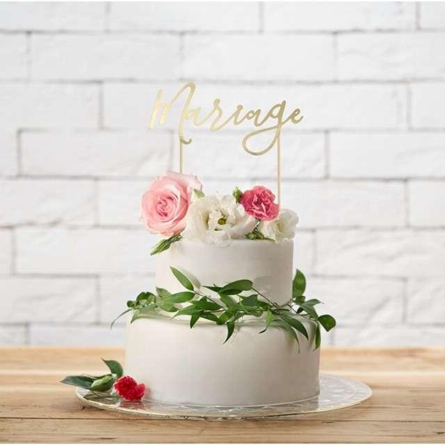 Dekoracja na tort Mariage złota PartyDeco 225 cm