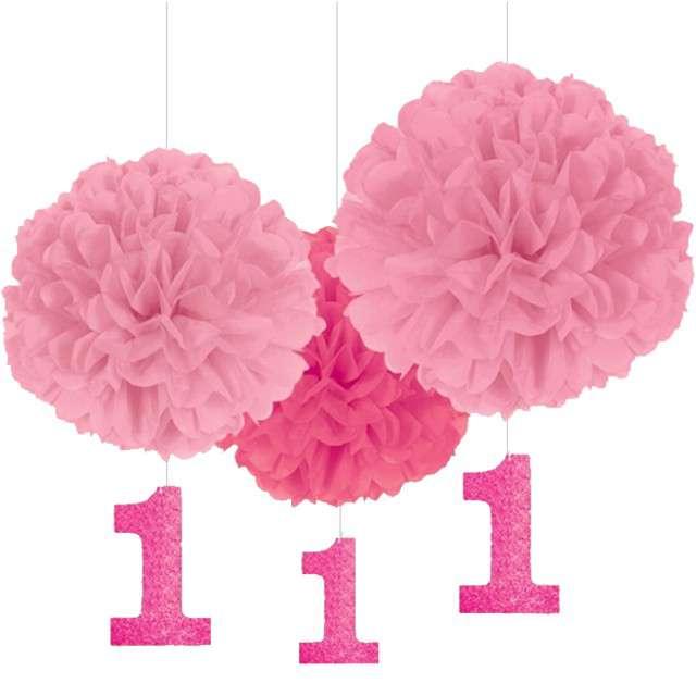 """Dekoracja wisząca """"1 Urodziny - Fluffy Pink"""", AMSCAN, 3 szt"""