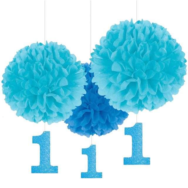 """Dekoracja wisząca """"1 Urodziny - Fluffy Blue"""", AMSCAN, 3 szt"""