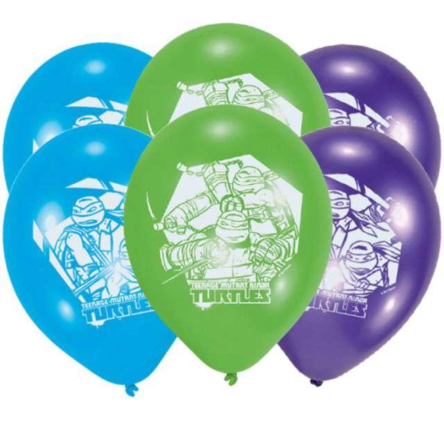 """Balony """"Wojownicze Żółwie Ninja"""", pastel mix, AMSCAN, 9"""", 6 szt"""