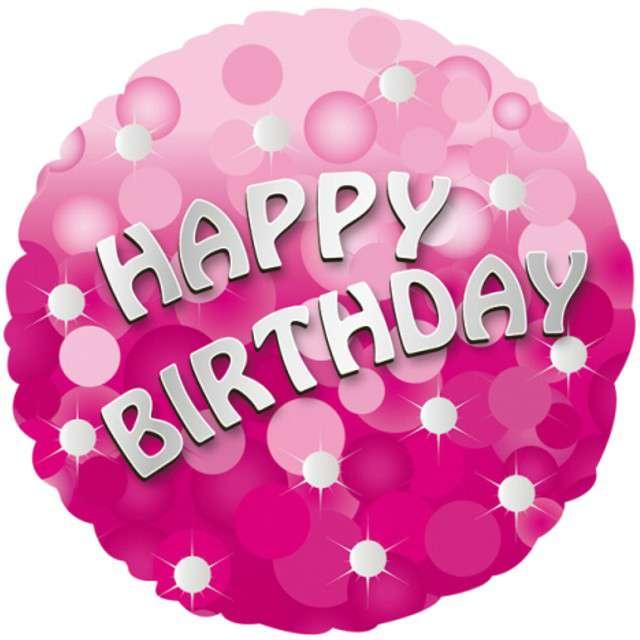 """Balon foliowy """"Happy Birthday Sparkle"""", AMSCAN, 18"""" RND"""