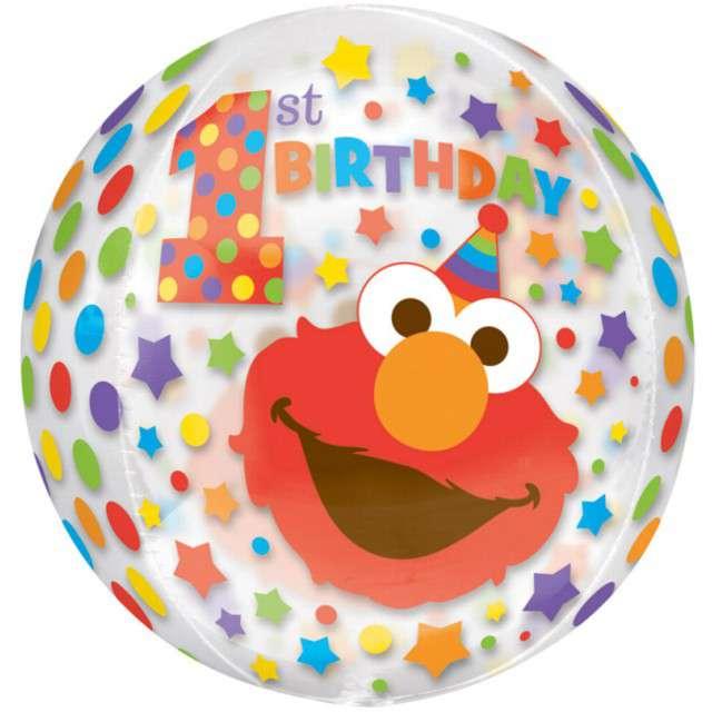 """Balon foliowy """"1 Urodziny - Elmo"""", Amscan orbz, 16"""" ORB"""