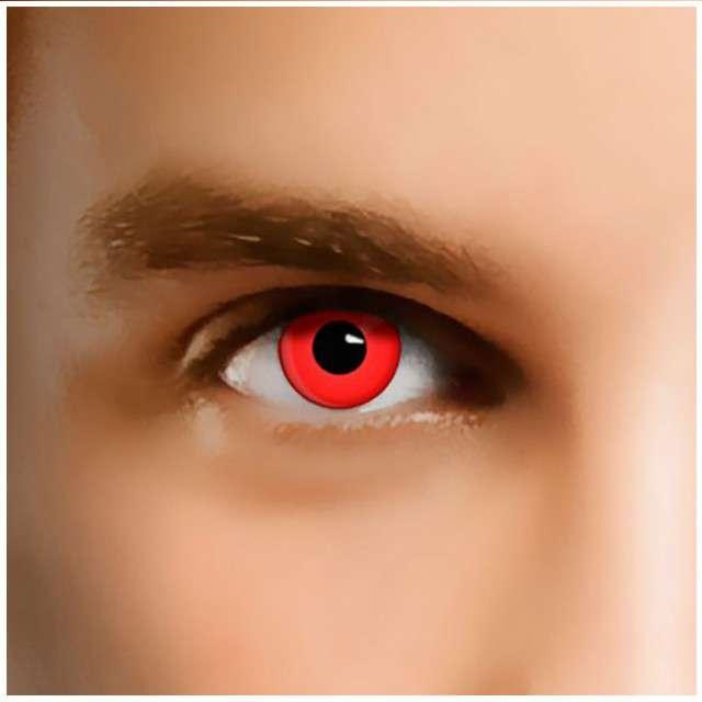 """Soczewki kolorowe """"Red Devil"""", czerwone, Smiffys, jednodniowe"""