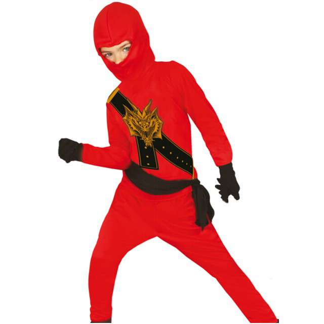 """Strój dla dzieci """"Czerwony Ninja"""", GUIRCA, rozm. 110/116 cm"""