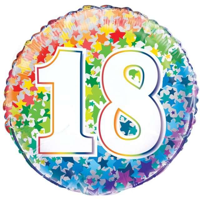 """Balon foliowy """"18 Urodziny - Rainbow"""", UNIQUE, 18"""" CIR"""