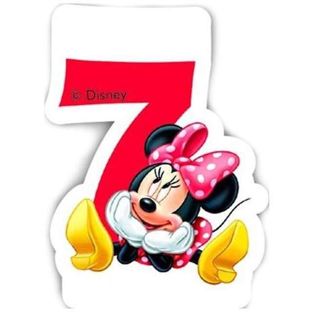 """Świeczka na tort """"Myszka Minnie Cyfra 7"""", PROCOS, 6 cm"""