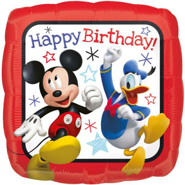 "Balon foliowy ""Myszka Mickey - Happy Birthday"", AMSCAN, 17"" SQR"