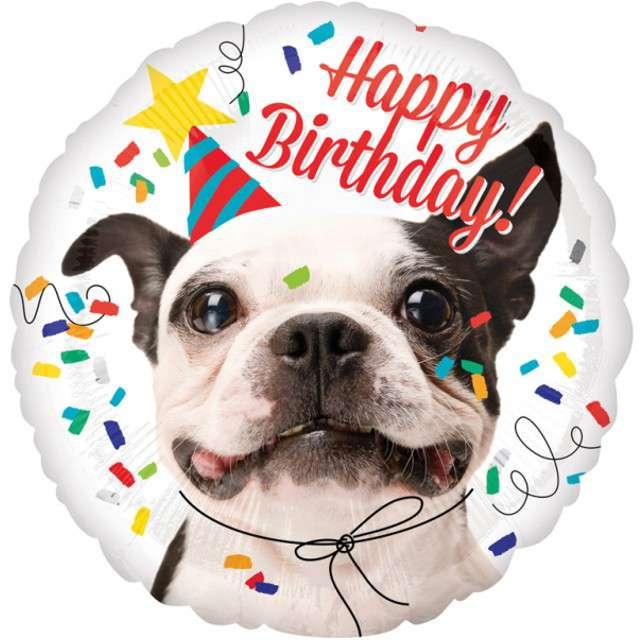 """Balon foliowy """"Happy Birthday Piesek"""", AMSCAN, 17"""" RND"""